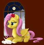angel bluenudibranch flowers fluttershy moon sleeping winter