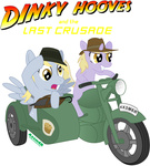 axemgr derpy_hooves dinky_hooves hat i_shall_not_use_my_hooves_as_hands indiana_jones motorcycle muffin parody sidecar umbrella