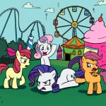 amusement_park apple_bloom cutie_mark_crusaders madmax plasters-ponies rarity scootaloo sweetie_belle