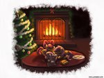 apple_bloom christmas christmas_tree cookies cutie_mark_crusaders fireplace lumineko scootaloo sleeping sweetie_belle