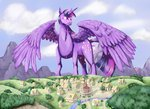 absurdres big canterlot cloud highres huge_wings ponyville princess_twilight stormcrow-42 twilight_sparkle