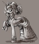 dress highres princess_luna silfoe sketch umbrella