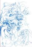 aspendragon discord dragon fluttershy generation_leap highres sketch tirek twilight_sparkle