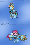 armor comic highres ichibangravity pinkie_pie rainbow_dash raspberry tickle