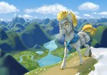 absurdres armor cloud dragon flowers helmet highres jackiebloom mountain original_character river scenery