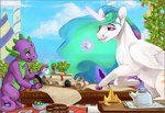cake iguanodragon ink magic princess_celestia quill scroll spike tea teacup teapot