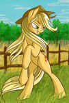 absurdres akweer applejack fence grass highres trees