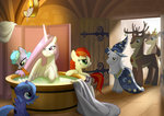 bath deer filly highres mister-saugrenu original_character princess_celestia princess_luna starswirl_the_bearded