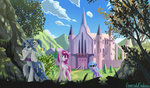 absurdres castle emeraldgalaxy everfree_forest filly forest highres princess_celestia princess_luna scenery starswirl_the_bearded trees
