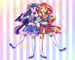 anime anime_as_fuck equestria_girls horse_ears humanized microphone pimmy sunset_shimmer twilight_sparkle