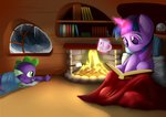 absurdres blanket book cup fireplace highres magic marshmallow snow snowing spike twilight_sparkle winter wreky