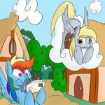 cloud derpy_hooves fish mail martinhello rainbow_dash saddlebags