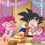 cake crossover dragon_ball_z goku madmax party pinkie_pie