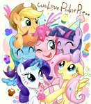 applejack apples balloon bipedal book candy confetti cupcake flowers fluttershy hat hugs ichigoaimin magic main_six party_hat pinkie_pie present rainbow rainbow_dash rarity sparkles twilight_sparkle