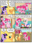 applejack balloon candy comic cupcake granny_pie granny_smith hat kturtle mirror origin_story party_hat pinkie_pie sweet_apple_acres twilight_sparkle