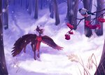 bird forest hazepages highres original_character scarf snow trees winter