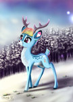 absurdres darksly-z deer highres rainbow_dash snow species_swap trees winter