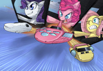 crossover fluttershy getter_robo highres pinkie_pie rarity uc77