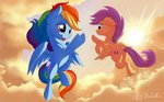 absurdres cloud flying highres nobody47 rainbow_dash scootaloo