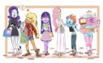 applejack bag book border cake candy dress fishby fluttershy humanized pinkie_pie rainbow_dash rarity twilight_sparkle