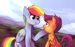 karzahnii rainbow_dash scootaffection scootaloo tears