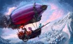 dirigible flying mountain nemo2d original_character scenery snow trees winter