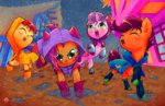 apple_bloom babs_seed boots cutie_mark_crusaders halem1991 highres puddle rain raincoat scootaloo sweetie_belle