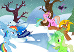 csillaghullo i_shall_not_use_my_hooves_as_hands original_character rainbow_dash snow snowball snowball_fight