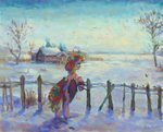 fence highres house madina55rus original_character snow trees winter