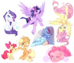 apple_bloom applejack fluttershy kokumaro magic main_six pinkie_pie princess_twilight rainbow_dash rarity twilight_sparkle