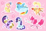 applejack apples book butterfly cloud fluttershy glasses main_six mamath pinkie_pie rainbow_dash rarity twilight_sparkle