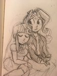 equestria_girls highres humanized puffpink shipping sunlight sunset_shimmer traditional_art twilight_sparkle