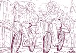 bicycle equestria_girls humanized jowybean sketch sunset_shimmer twilight_sparkle