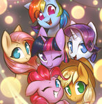 applejack fluttershy highres main_six mirroredsea pinkie_pie rainbow_dash rarity twilight_sparkle