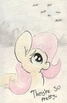 bat fluttershy moon slightlyshade traditional_art