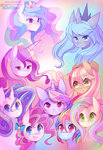 applejack fluttershy main_six pekou pinkie_pie princess_cadance princess_celestia princess_luna rainbow_dash rainbow_power rarity twilight_sparkle