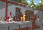 applejack eriada1992 highres pinkie_pie ruins water_mill
