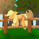 applejack fence highres notenoughapples sleeping sweet_apple_acres