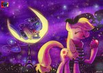 accordion applejack eiffel_tower jowybean moon paris princess_luna