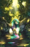absurdres anticularpony bathing forest highres princess_celestia trees water