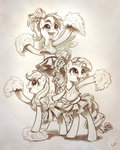 applejack cheerleader grayscale highres kp-shadowsquirrel rainbow_dash rarity