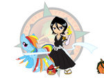 angry_birds bleach crossover dragon-fangx japanese pumpkin rainbow_dash rukia_kuchiki sword weapon