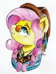 feather flowers fluttershy glasses hat highres moonlight-ki sunglasses traditional_art