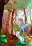 flowers forest original_character reflection stream trees water wolfiedrawie