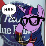 alteration artist_unknown casual_viewing glasses hipster mixed_resolution pabst_blue_ribbon twilight_sparkle unmoving_plaid