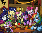 applejack apples armor bandage carrot cider dagger fluttershy gems injured latecustomer main_six pinkie_pie rainbow_dash rarity robe spike table twilight_sparkle weapon