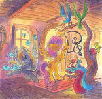 bird derpy_hooves fluttershy fluttershy's_cottage leavingcrow music singing traditional_art