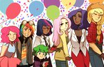 applejack fluttershy humanized main_six mimimonart pinkie_pie rainbow_dash rarity spike twilight_sparkle