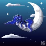 animated auro-ria cloud moon nighttime pixel_art princess_luna sleeping stars