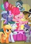 applejack filly highres limestone_pie marble_pie maud_pie mysticalpha pinkie_pie siblings